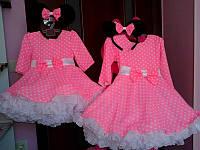 Яркое нарядное платье на девочку с пышным низом в горошек
