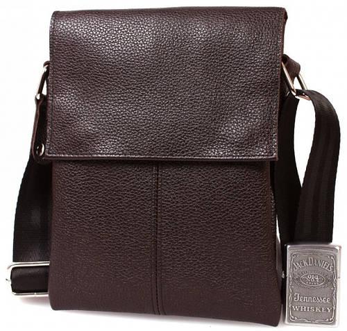 Небольшая мужская кожаная сумка на каждый день, коричневая Alvi av-140brown