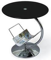 Стеклянный журнальный столик Halmar Alma с круглой черной столешницей