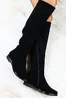 Сапоги черные замшевые и  кожаные евро зима без каблука с металлическими кнопками, низкий ход