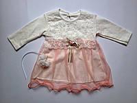 Нарядное платье для девочки на выписку или крещение 0-3 мес.