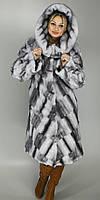 Длинная искусственная шуба большого размера серо-голубая норка  М-107  48-62 размеры