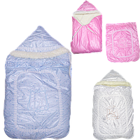 Зимний конверт-одеяло на овчине на выписку,в коляску,санки, с плащёвки, наполнение холлофайбер,ТМ Little Angel