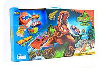 Детская парковка-гараж «Голодный динозавр» + 2 машинки (Трек, трамплин, динозавр, металлические машинки)
