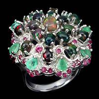 Серебряное кольцо с натуральными камнями