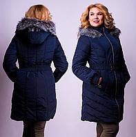 Зимнее женское пальто с мехом, два цвета
