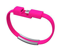 Кабель-браслет USB-lightning для iphone или ipad РОЗОВЫЙ SKU0000376