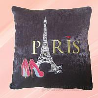 Подушка с вышивкой Украина ДП52-Париж коричневая 40х40 см