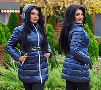 Зимняя женская куртка с капюшоном плащевка на холлофайбере размеры 46-48 50-52 54-56