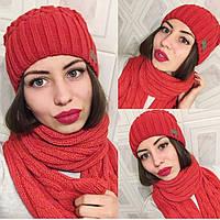 """Модный, зимний, женский комплект шапка + шарф """"Акрил + шерсть, с фирменным значком""""  РАЗНЫЕ ЦВЕТА"""