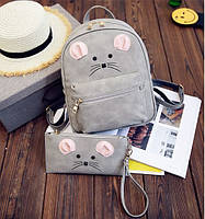 Милый рюкзак с ушками Мышка с клатчем кошельком.