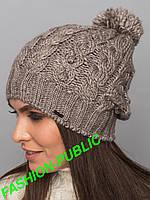 Зимняя шапка с бубоном утепленная 5 цветов