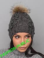 Зимняя шапка с меховым помпоном 2 цвета