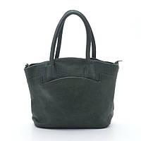 Качественная женская сумка темно-зеленого цвета из искусственной кожи