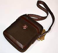 """Мужская сумка тканевая стильная коричневая """" DILASICA"""""""