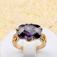 002-1844 - Кольцо с пурпурным фианитом позолота, 17 р.