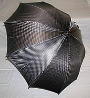 Зонт трость Атлас чёрный в горох с деревянным корпусом