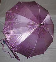 Зонт трость Атлас Лаванда с деревянным корпусом
