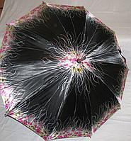 Зонт трость Атлас черный с цветами с деревянным корпусом