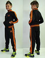 Детский спортивный костюм Adidas темно-синий с оранжевым лампасом