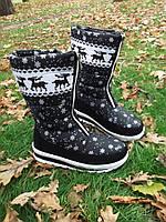 Модные теплые зимние женские сапоги дутики, черные