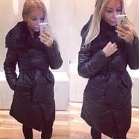 Женское зимнее теплое пальто из плащевки с натуральным мехом кролика