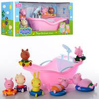 Набор фигурок Свинка Пеппа, брызгалка и пищалка,от 5,5см,с ванной 23см, в кор-ке