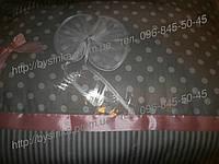"""Детское постельное белье в кроватку из 8 и ед-""""Серый горошек+ полоска"""""""