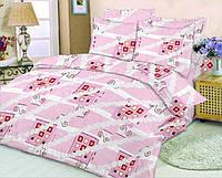 Качественное постельное белье, розовое, бязь, полуторное