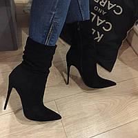 Ботинки в стиле Louboutin демисезон, иск. замш, женские модные ботинки с острым носком