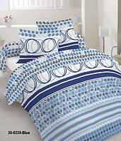 Качественное постельное белье, бязь, голубая абстракция двуспальное