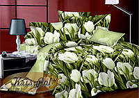 """Комплект постельного белья полуторный, сатин 3D """"Море тюльпанов"""""""