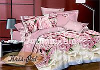 """Комплект постельного белья полуторный, сатин 3D """"Розы в сливках"""""""