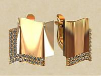 Золотые серьги 585* пробы в стиле модерн с Фианитами