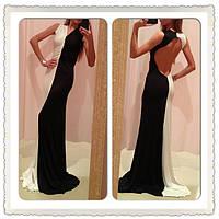 """Стильное черно-белое длинное платье """" День и ночь """", с открытой спиной. Арт-8840/74"""
