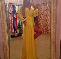 """Шикарное желтое платье в пол """" Юнайк """" с гипюровым верхом. Арт-8843/74"""
