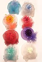 Вуалетка с цветами диаметром 15 см