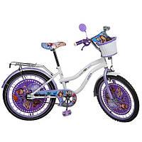 Велосипед Profi Sofia 20 дюймов, Профи София детский двухколесный для девочки с корзинкой