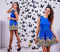 """Молодежное короткое платье """" Принцесса """",с кружевом, цвет электрик. Арт-8857/74"""