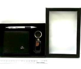 """Набор подарочный """"Classic"""" ручка, кошелёк и брелок черного цвета"""