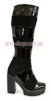 Сапоги женские демисезонные на высоком каблуке, натуральный замш и лак, фото 1