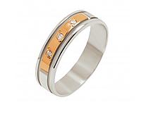 Серебряное обручальное кольцо с золотом Три циркония