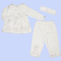 Крестильный комплект: кофточка, штанишки и повязка на голову; 100% хлопковый трикотаж, Турция, р. 62