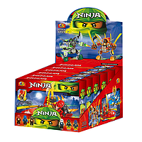 Настольные развивающие игрушки. Конструктор Ниндзя. Набор лего Ниндзя A32036, в коробке 6 штук. Герои Ниндзя