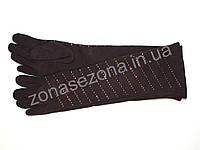 Женские длинные перчатки со стразами коричневые