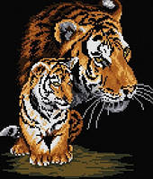 "Алмазная техника вышивки ""Тигрица и тигренок"""