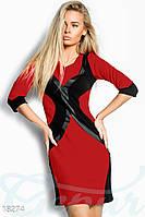 Облегающее контрастное платье. Цвет красно-черный.