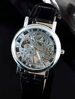 Механические мужские наручные часы Winner GOLD SILVER Серебристый Серебристый Черный