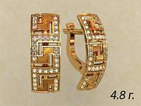 Прямоугольные женские золотые серьги 585* пробы в греческом стиле с Фианитами
