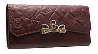 Женский кошелек из натуральной кожи с брошкой  0033 brown 2